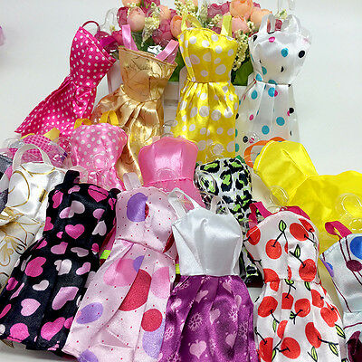 10PCS Fashion Lace Doll Dress Clothes For Dolls Style Baby Toys Cute Gift~