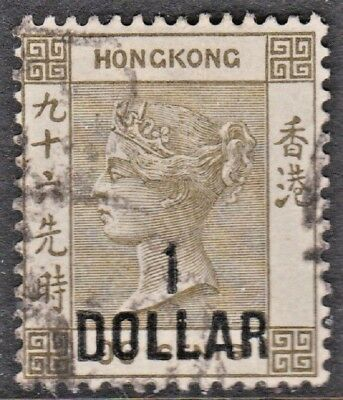 HONG KONG (Scott 55 - SG 42) 1885 Queen Victoria $1 on 96c olive gray USED