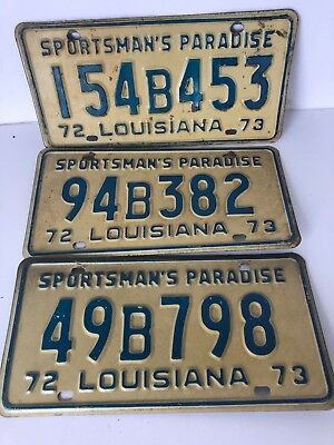 1972 1973 Louisiana License Plates (Quantity 3) Lot 2