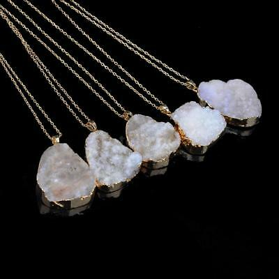 Natural Stone Crystal Pendant Necklace Clavicle Chain Sweater Chain for Men M2Y6