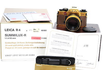 MINT NEVER USED! Leica R4 Gold w. 1.4/50 mm Summilux-R boxed