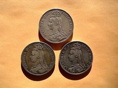 Lot Of 3 Great Britain Victoria Jubilee-Head Silver Crowns ~ Very Nice Ladies!