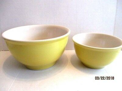 2 Tag Heavy Yellow White Stoneware Mixing Bowls Large and Small