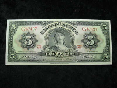 1 old world foreign currency banknote MEXICO 5 pesos 1963 P60 Gypsy woman