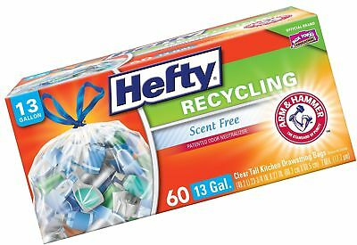 Hefty Recycling Trash/Garbage Bags (Clear, Kitchen Drawstring, 13 Gallon, 60