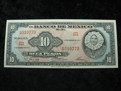 """1 old world foreign currency banknote MEXICO 10 pesos 1965 P58 """"Tehuana"""""""