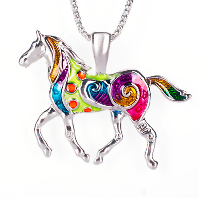 Large Colorful Horse Necklace ~ Pony Unicorn Enamel Pendant