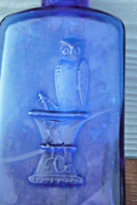 "The Owl Drug Co 4-5/8"" Tall Triangular Cobalt Blue Poison Bottle One Wing Owl"