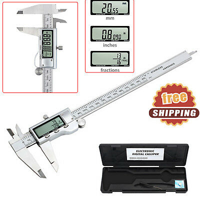 "8""LCD Digital Electronic Gauge Stainless Steel Vernier Caliper Ruler Micrometer"