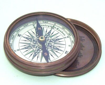 Nautical Vintage Style Poem Engraved Marine Compass Brass Compass