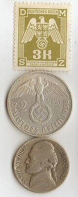 -*WWII -  SILVER  - *us   and - *german coin/stamp++
