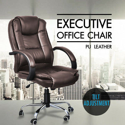 Executive High Back Office Chair PU Leather Computer Padded Armrests Seat Brown