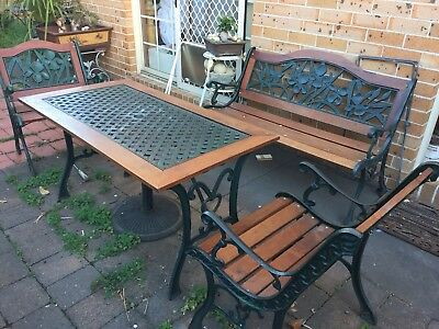 vintage Heavy Dury Cast Iron Outdoor Table 3 Chairs