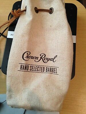 Crown Royal Hand Select Canvas bag with leather draw string New