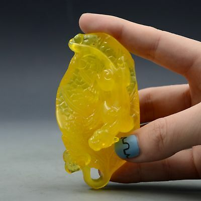 100% Natural Amber Beeswax Baltic Hand-carved Dragon Leaf Shape Statue Pendant