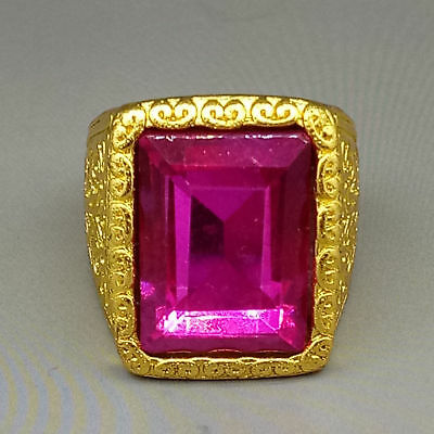 Chinese Exquisite Gilt Brass Inlaid Pink gem National Fashion Ring Z425