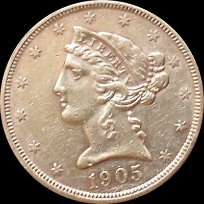 1905-S U.S. Half Eagle-High Grade $5 Gold Coin-Ships Free!-Read All Details B-7