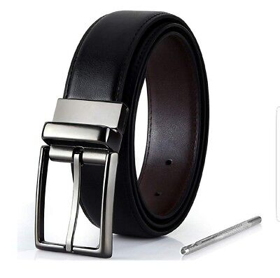 DAILY WEAR Men/'s Reversible Formal Belt Damier Exterior /&Rotated Buckle|28-44|