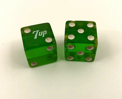 Vintage Green 7up Dice 5's and 2's Advertising Novelty Pair Lucky Soda
