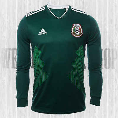 78c0ff9ca98 2018 Xl Adidas Mexico Home World Cup Mens Long Sleeve Jersey Green  Seleccion New