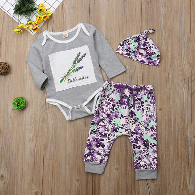 Autumn Newborn Baby Girl Floral Romper Bodysuit+Long Trousers Outfit Hat Clothes