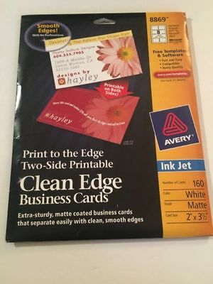 136 Avery 8869 8373 Clean Edge Business Cars Ink Jet White 2 x 3 1/2 in 2-sided