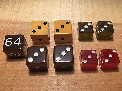 """8 Catlin Bakelite Dice 3/4"""" & 5/8"""" plus 3/4"""" doubling cube all tested positive"""