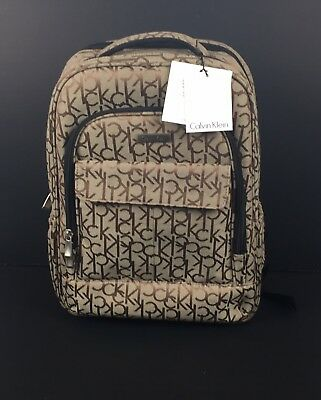 1b89902235 NWT Calvin Klein Beige Khaki Monogram Travel Backpack Luggage W/ Laptop  Sleeve