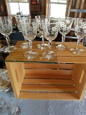 (7) Beautiful Etched Flowered Stemware