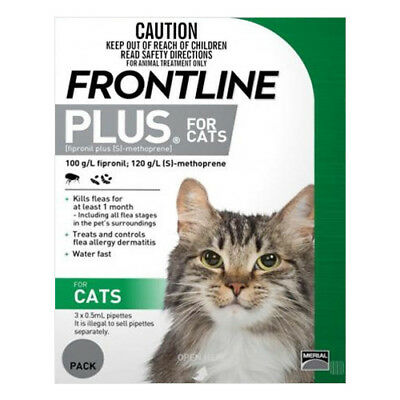 Frontline Plus for Cats GREEN Fleas Ticks NEW STOCK