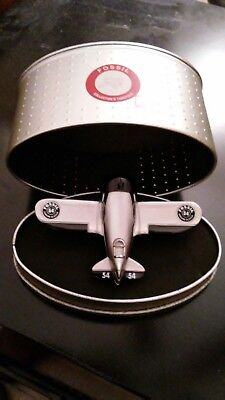 Fossil 54 Airplane Desk Clock Limited Edition Collectors WWII Style Silver Metal