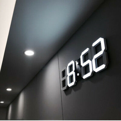 Moderno 3D Digital Led Reloj de Pared Despertador 12/24Hrs Repetición Alarma USB