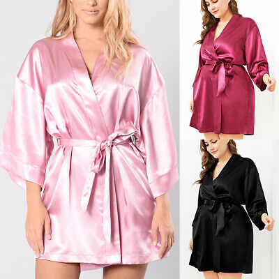 UK Womens Sexy Satin Lace Lingerie Nightwear Robe Babydoll Sleepwear Night Dress