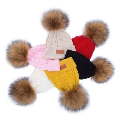 Newborn Girls Boys Kids Beanie Baby Knitted Hat  Ball Wool Fur Bobble Beanie Cap