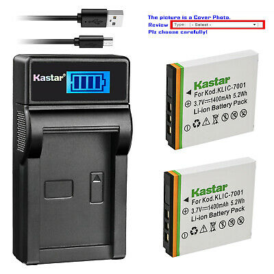 Kastar Battery LCD Charger for Kodak KLIC-7001 & Kodak EasyShare M341 Camera