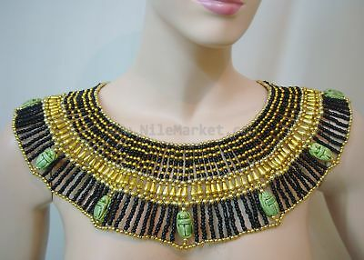 XXL Egyptian Hand Made Brown Cleopatra 9 Scarabs Necklace Collar From Egypt