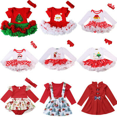 UK Toddler Kids Baby Girls Princess Dress Christmas Party Dress Outfits Clothes