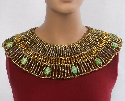 XL Egyptian Hand Made Red And Brown Cleopatra 9 Scarabs Necklace Collar