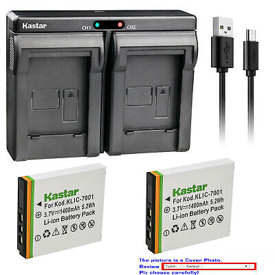 Kastar Battery Dual Charger for Kodak KLIC-7001 & Kodak EasyShare M340 Camera