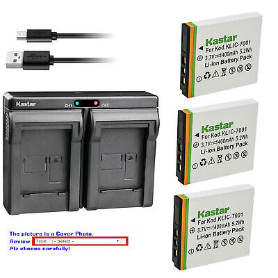 Kastar Battery Dual Charger for Kodak KLIC-7001 Kodak EasyShare M893 IS Camera