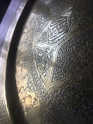 """15"""" Antique Indian Persian Middle Eastern Brass Tray Wall Plaque"""
