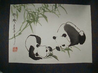 Chinese Bamboo Panda Ink & Watercolour Painting on Rice Paper - Signed.