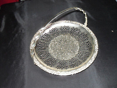 Silver Plated Serving Tray/dish With Folding Handle 24 Cm Diameter
