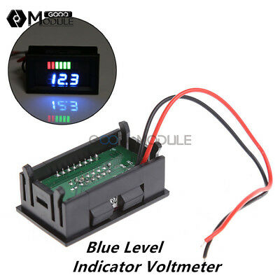 12V Lead-acid Battery Charge Level Blue Indicator Voltmeter Stable Dispaly