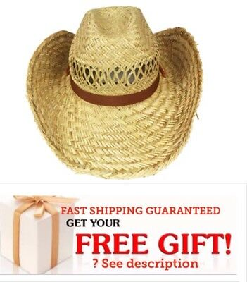 COWBOY Western HAT Shareable STRAW Cowgirl Rodeo Cap MEN WOMEN HIGH QUALITY