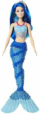 Barbie Mermaid Doll Bath Play Fantasy Sparkle Mountain Sea Striped Blue Tail