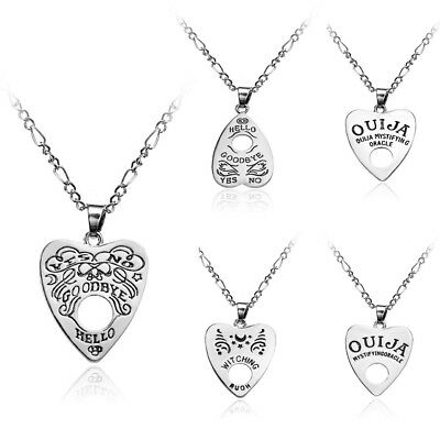 Antique Vintage Style Gothic Ouija Board Heart Pendants Chain Necklace Halloween