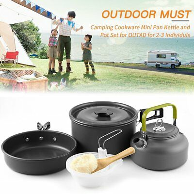 Durable Camping Bowl Pot Pan Cooking Mess Kit for Camping Backpacking Hiking @MK