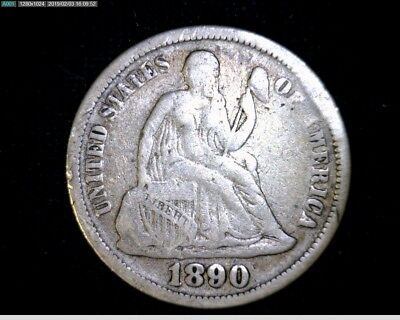 1890 Silver Seated Liberty Dime # 0138