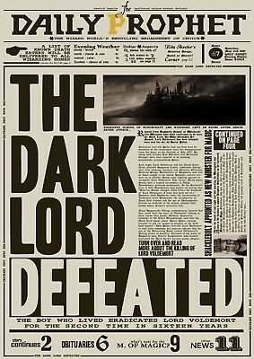 Harry Potter Daily Prophet Dark Lord Defeated Glossy Wall Art Poster Print